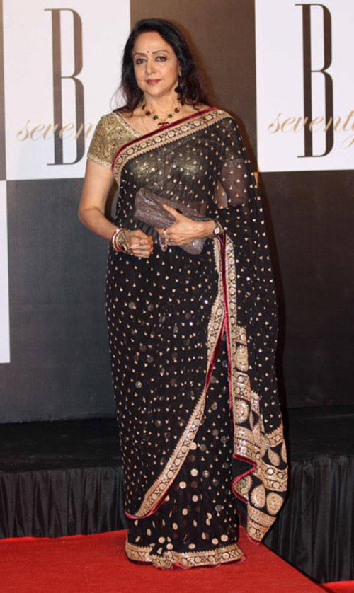 Bollywood Actress Hema Malini In Black Saree