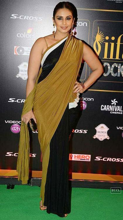 Huma-Qureshi-In-Olive-Green-Saree