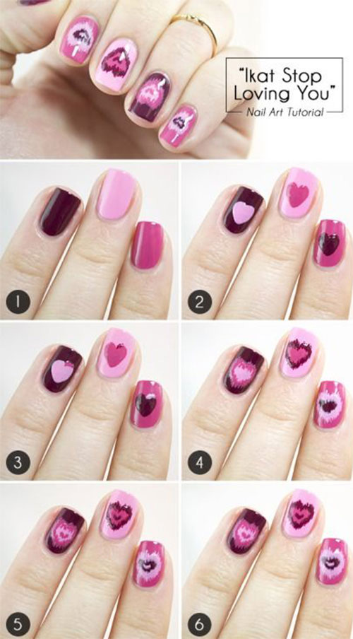 Ikat Hearts Nail Art