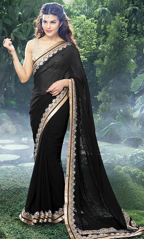 Jacqueline Fernandez In Black Saree
