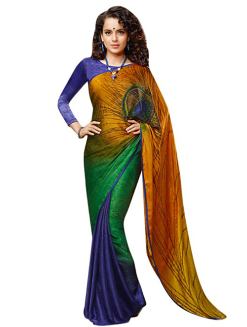Kangana Ranaut In Peacock Design Saree