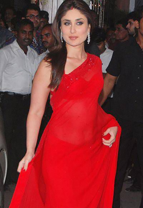 Bollywood Beauty Kareena Kapoor Red Saree Look
