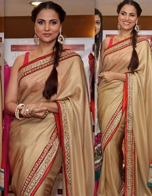 Lara Dutta In A Beige Saree