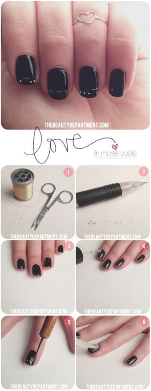 Love in Morse Nail Art
