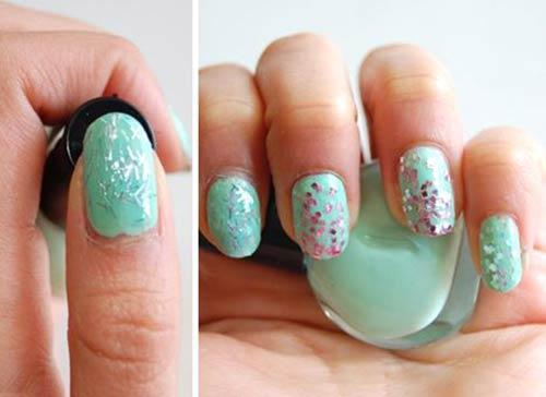 Macaron Glitter Nails
