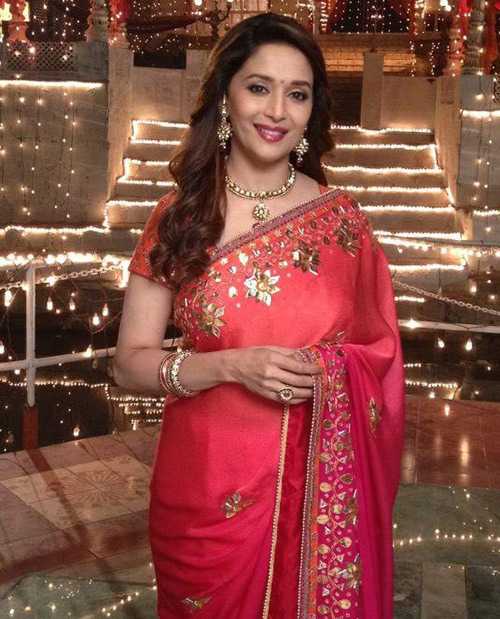 Bollywood Actress Madhuri Dixit In Pink Saree