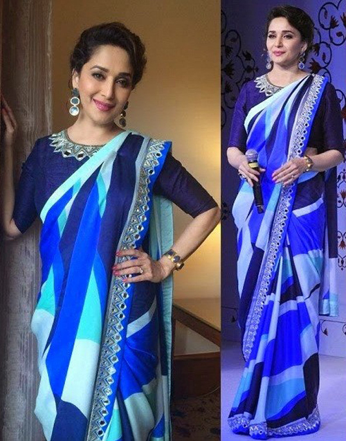 Madhuri Dixit In Blue Saree