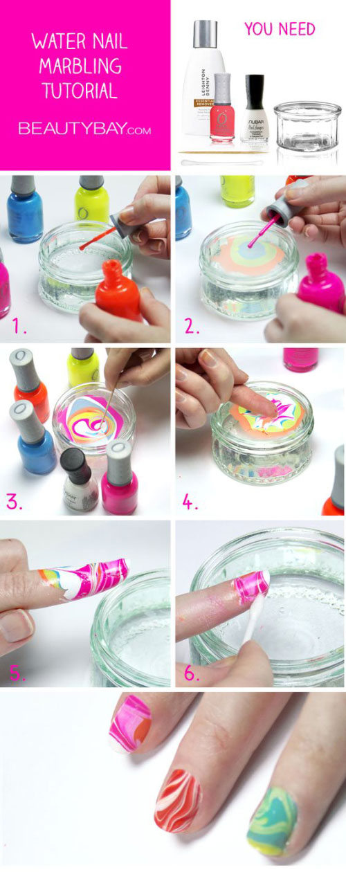 Top 10 Water Marble Nail Art Design Tutorials (Pictures) For 2018