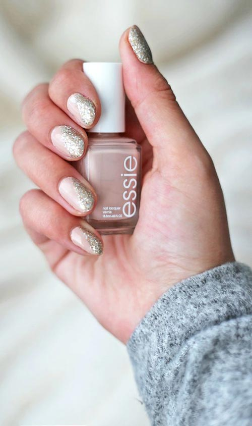 Nude Glitter Nail Manicure