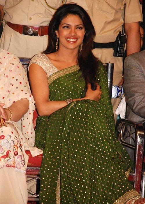 Priyanka Chopra In Green Saree