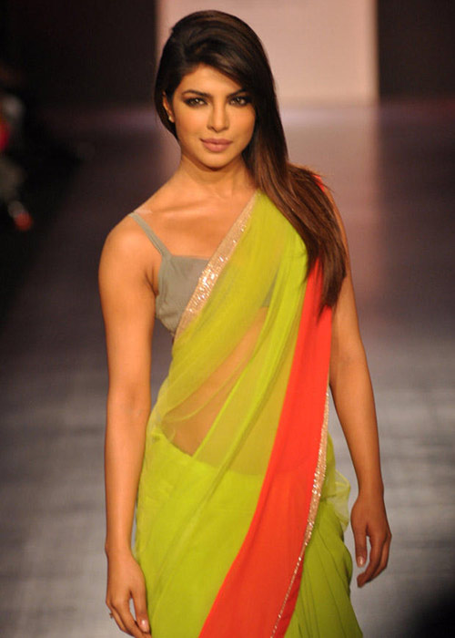 Bollywood Hot Heroine Priyanka Chopra In Yellow Saree