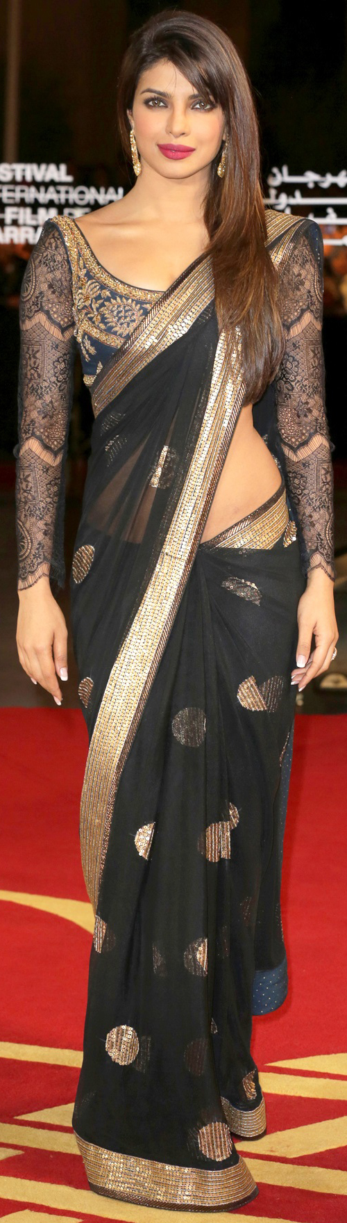 Priyanka Chopra In Black Saree