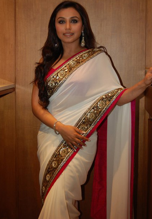 Rani Mukherjee In White Saree copy
