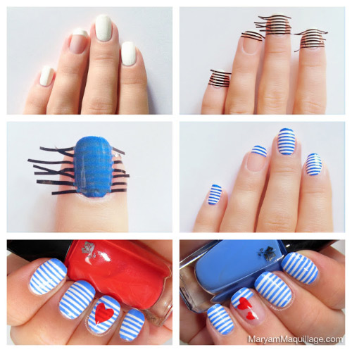 Sailor Striped Heart Nail Art