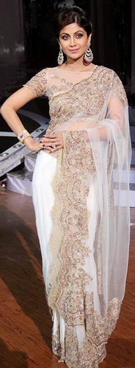 Shilpa-Shetty-In-White-Saree