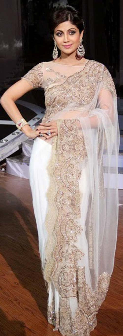 Shilpa Shetty In White Saree