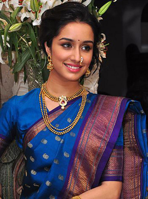 Shraddha Kapoor In Royal Blue Saree