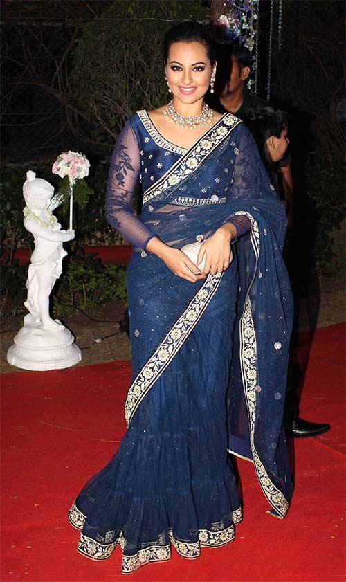 Sonakshi Sinha In A Blue Saree