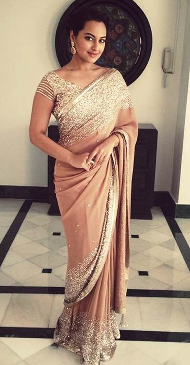 Sonakshi-Sinha-In-Beige-Saree