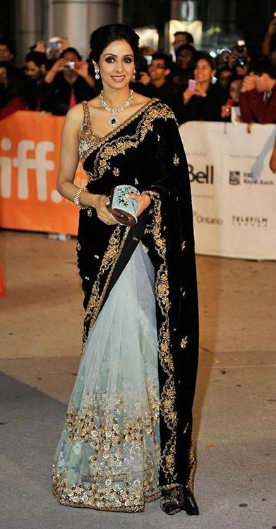 Sridevi In Black And Mint Saree
