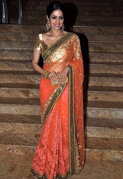 Sridevi In Peach Saree