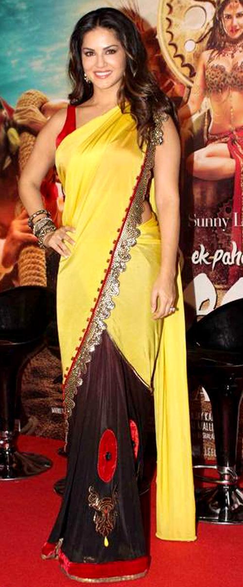 Sunny Leone In Yellow Saree