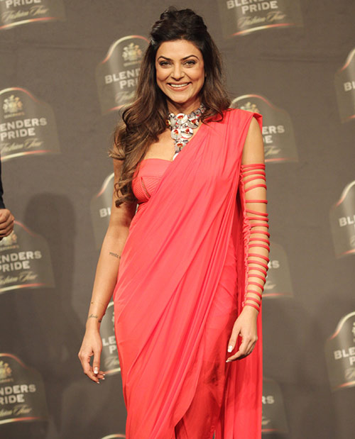 Sushmita Sen Red Saree Look
