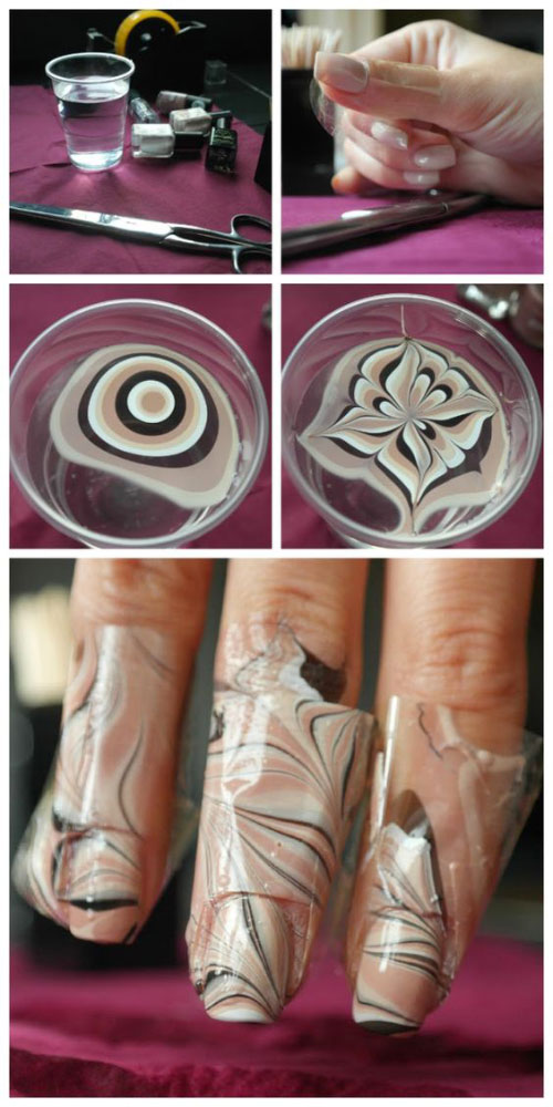 Top 10 water marble nail art design tutorials pictures for 2017 tiramisu marbled nails prinsesfo Image collections