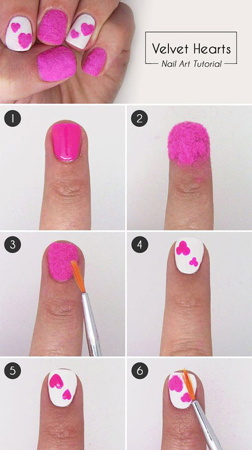 Velvet Hearts Nail Art