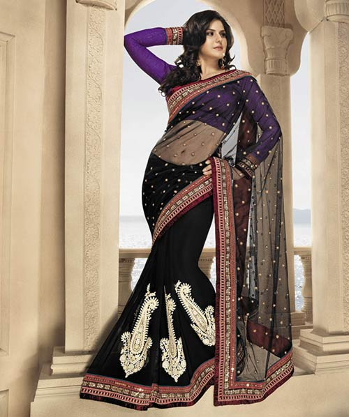 Bollywood Actress Zarine Khan In Black Saree