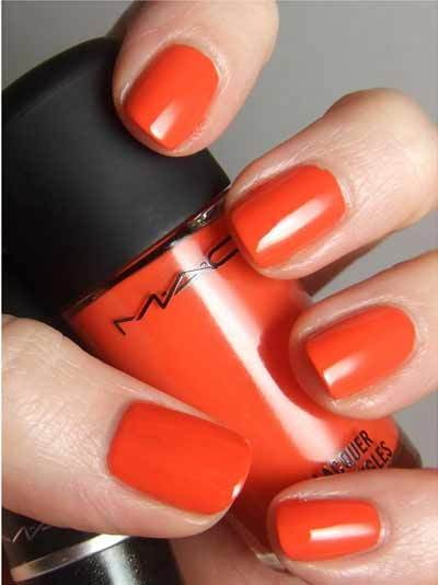 bright orange nail colour