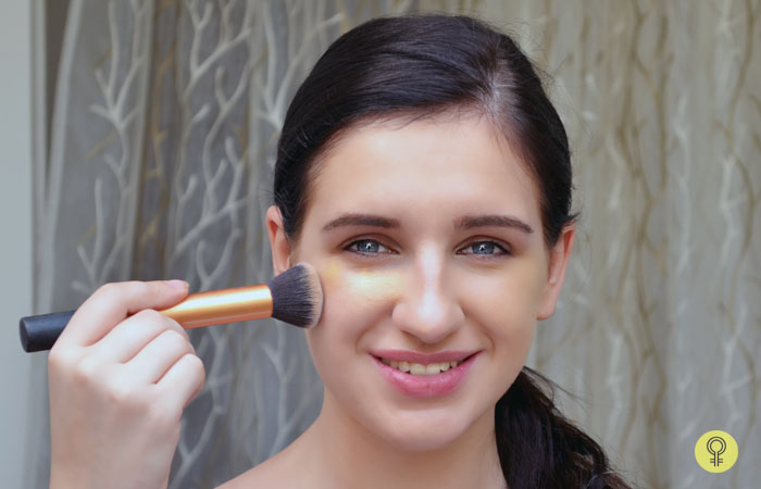 How To Apply Cream Foundation - Step 4: Blending The Cream Foundation Using Brush