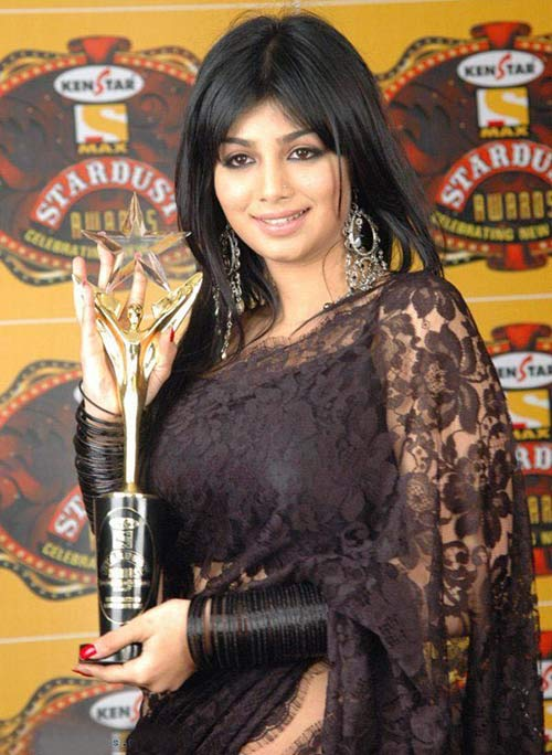 Bollywood Actress Ayesha Takia Black Saree Look