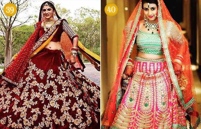 Beautiful Indian Bridal Makeup Looks - Hindu Brides in Maroon Dresses