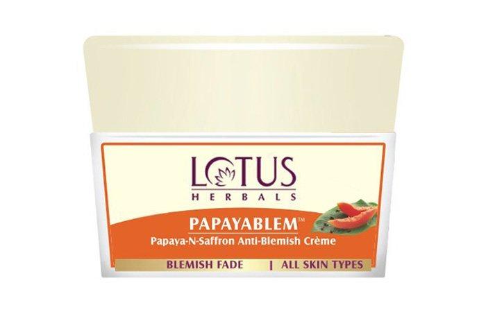 16. Lotus Herbals Papayablem Papaya-n-Saffron Anti-Blemish Cream