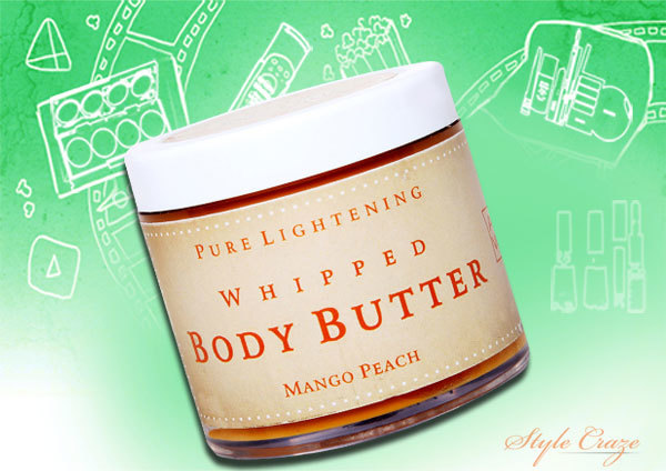 auravedic pure lightening whipped body butter with mango peach
