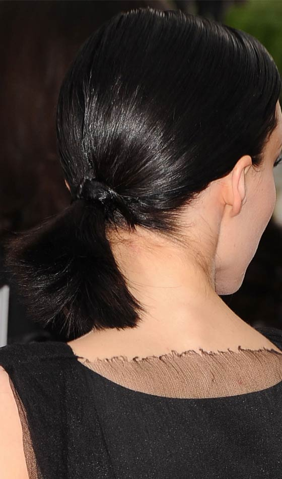 Black Side Ponytail with Side Part