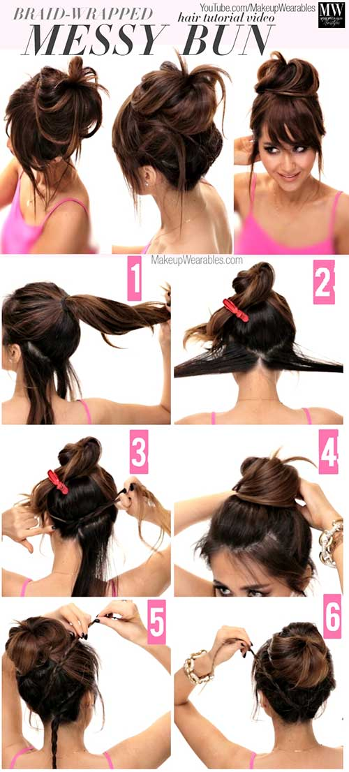 Messy Braid Wrapped Bun