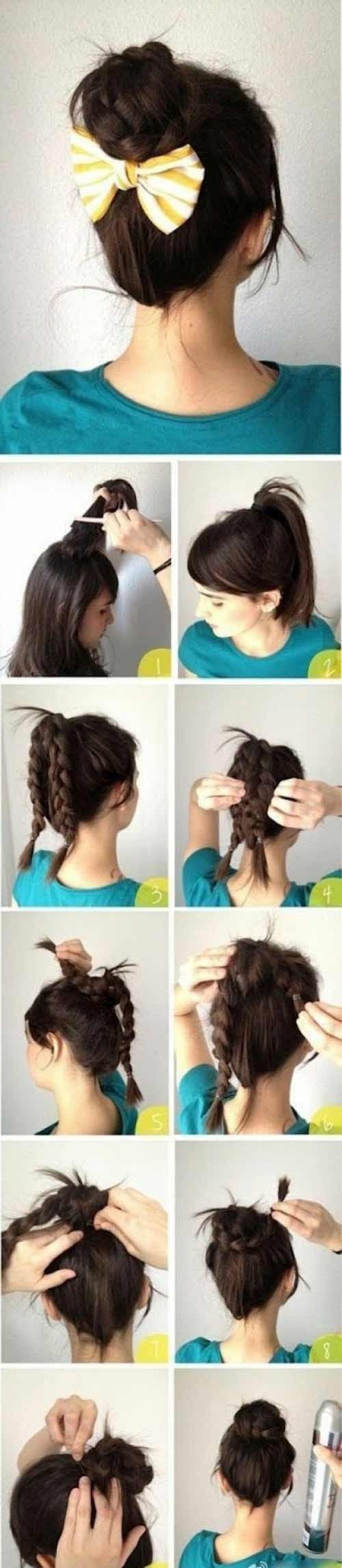 Messy Double Braid Bun