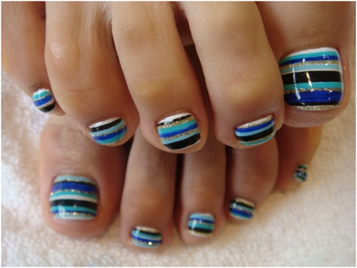 12 nail art ideas for your toes stripes toe nail art prinsesfo Images