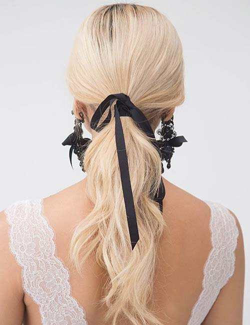 14. Ribbon Tied Ponytail