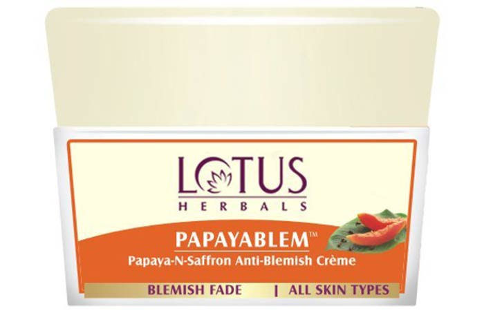 Lotus Papayablem Papaya-N-Saffron Anti-Blemish Creme - Lotus Herbals Skin Care Products