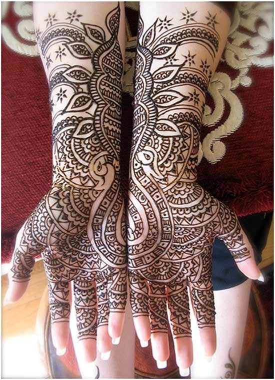 black mehndi design for hands