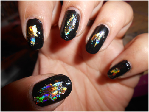 nails with one color of foil first