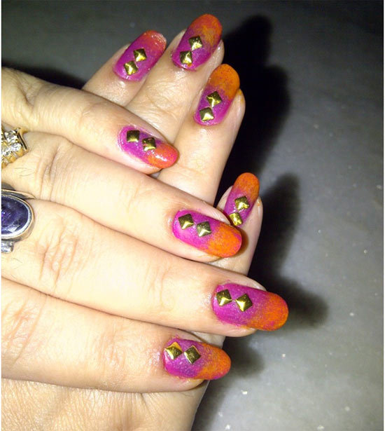 Orange And Pink Nail Studs