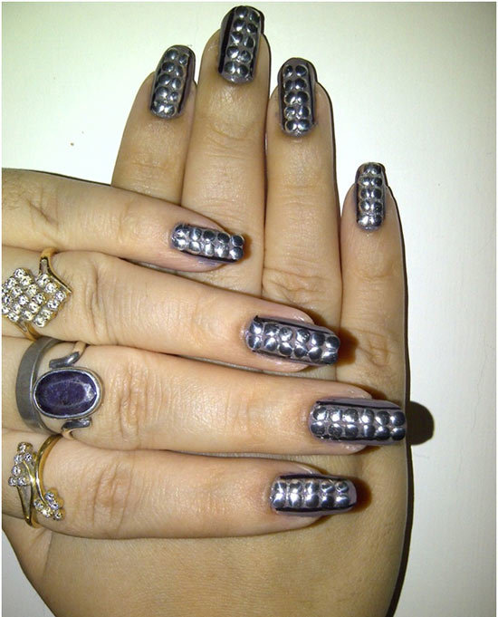 Grey Nails With Silver Round Studs