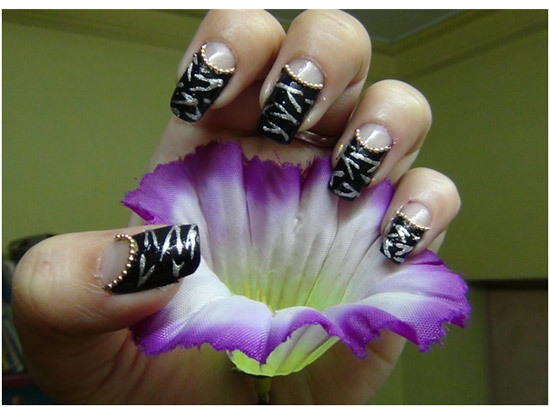 zebra french manicure designs