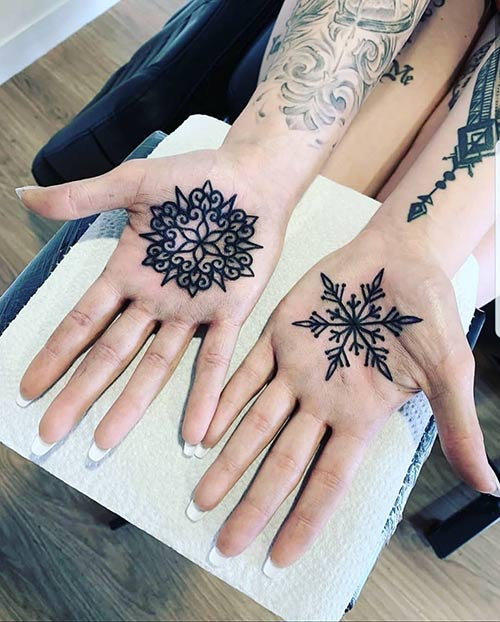 Snowflake Tattoo On Hand