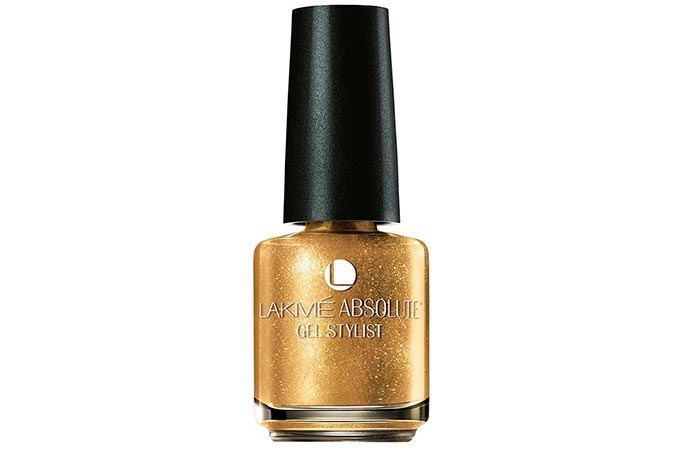 10. Lakme Absolute Gel Stylist Nail Color, Gold Glaze