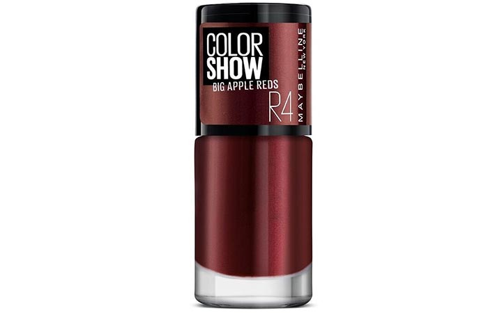 11. Maybelline New York Color Show, Big Apple Nail Paint, 204 Juicy Red